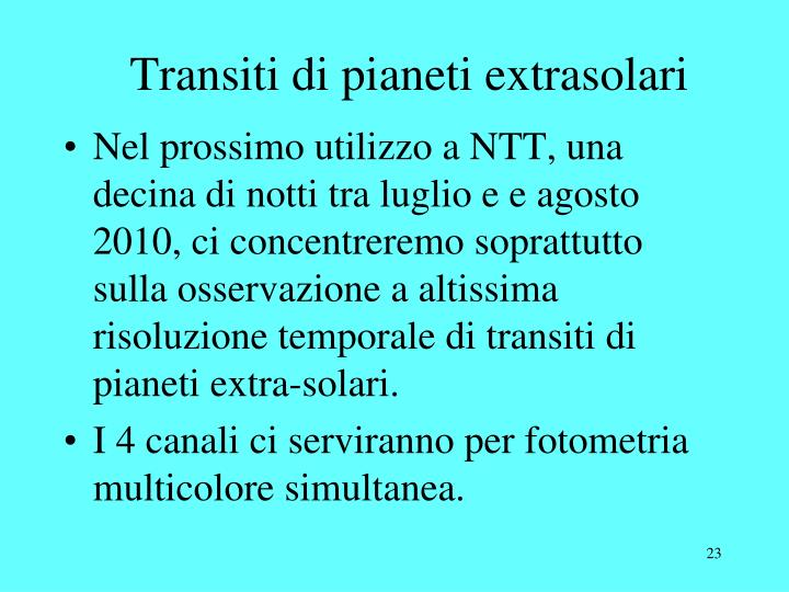 Transiti di pianeti extrasolari
