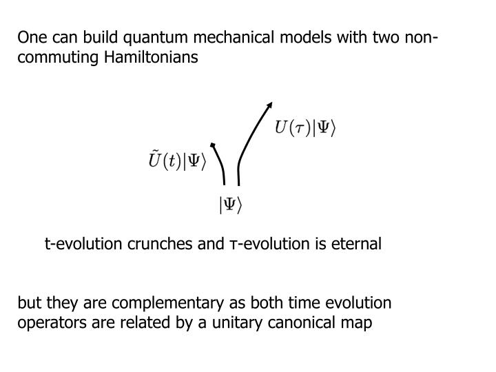 One can build quantum mechanical models with two non-commuting Hamiltonians