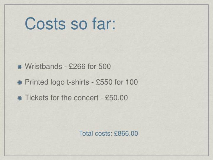 Costs so far: