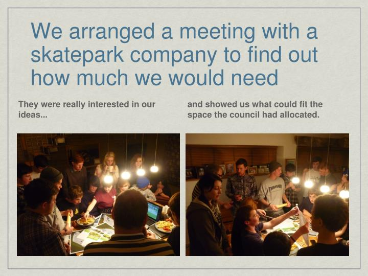 We arranged a meeting with a skatepark company to find out how much we would need