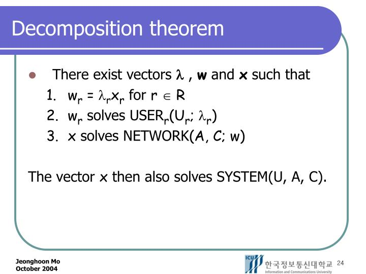 Decomposition theorem