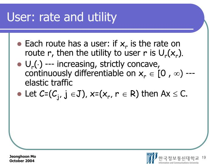 User: rate and utility