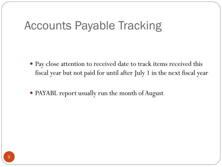 Accounts Payable Tracking