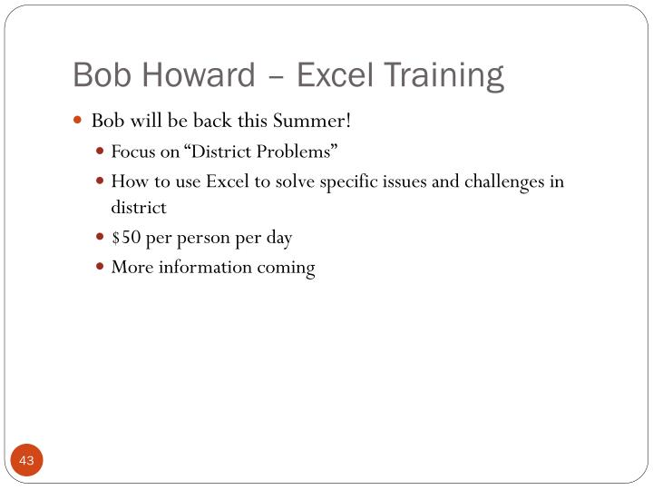 Bob Howard – Excel Training