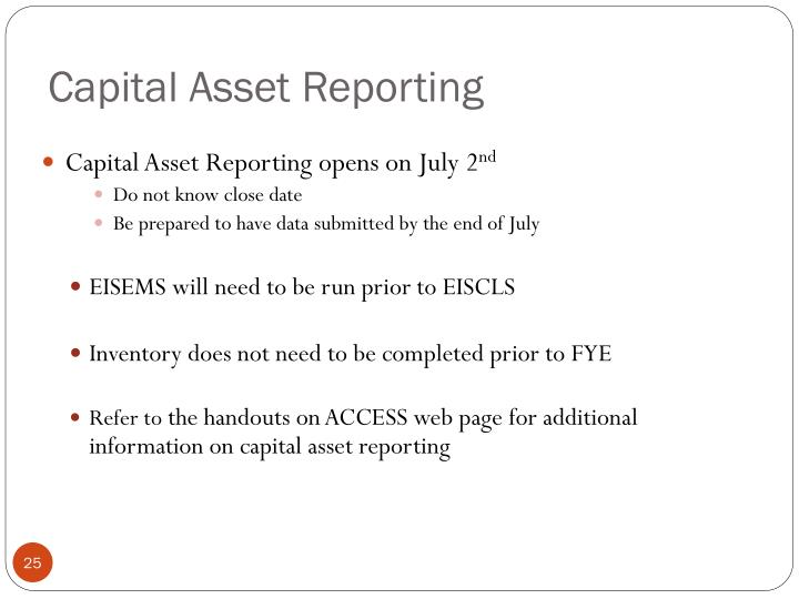 Capital Asset Reporting