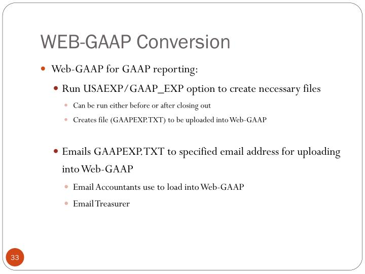 WEB-GAAP Conversion