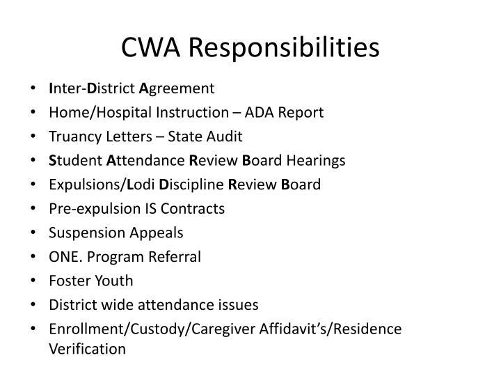 CWA Responsibilities