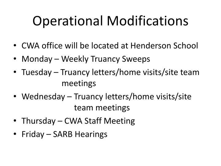 Operational Modifications