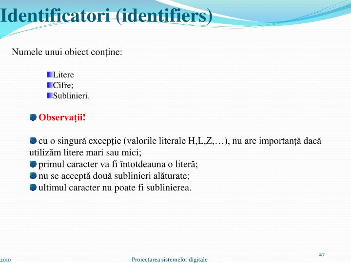 Identificatori (identifiers)
