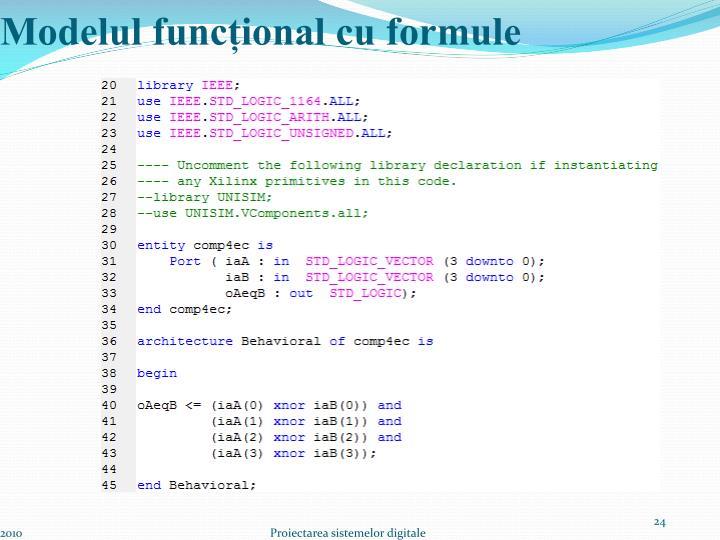 Modelul funcțional cu formule