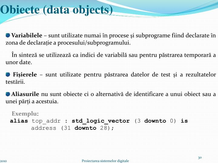 Obiecte (data objects)