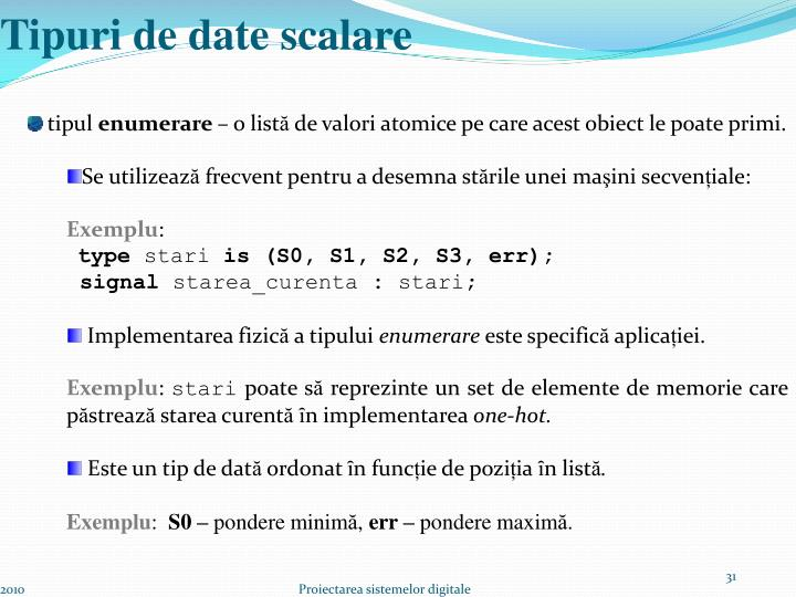 Tipuri de date scalare