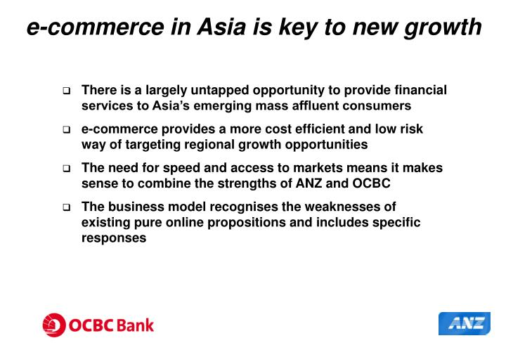 E commerce in asia is key to new growth