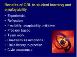 benefits of cbl to student learning and employability