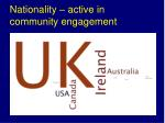 nationality active in community engagement