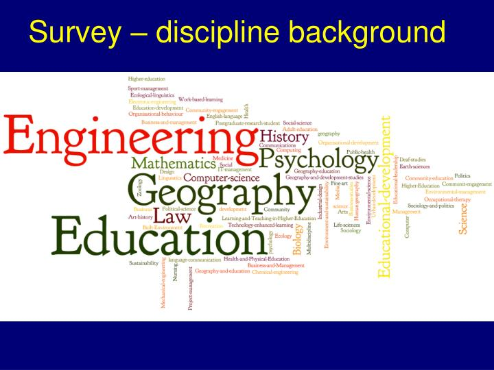 Survey – discipline background