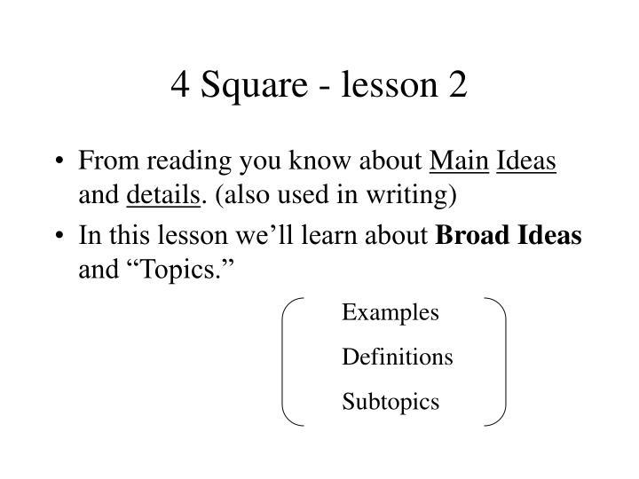 4 Square - lesson 2