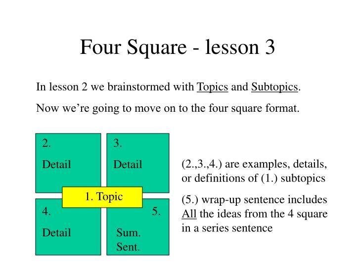 Four Square - lesson 3