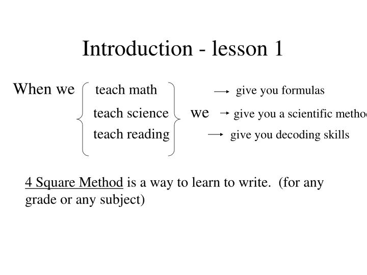 Introduction - lesson 1