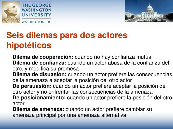 Seis dilemas para dos actores hipotéticos