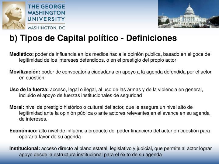 b) Tipos de Capital pol