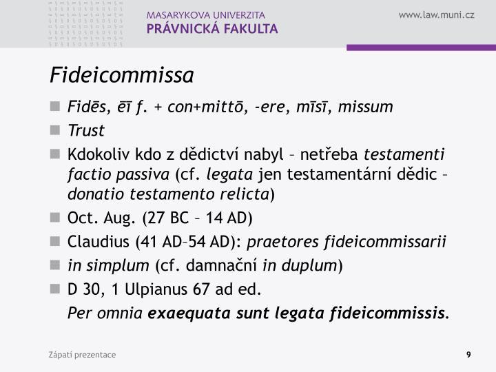 Fideicommissa