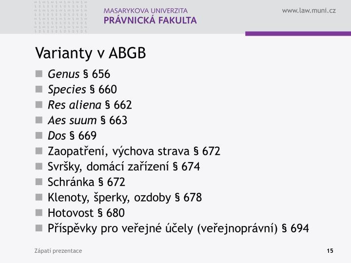 Varianty v ABGB