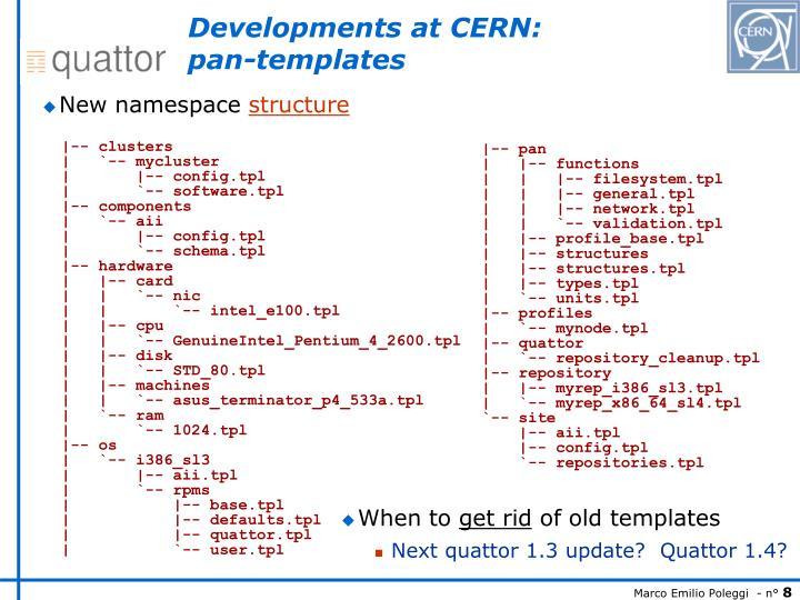 Developments at CERN: