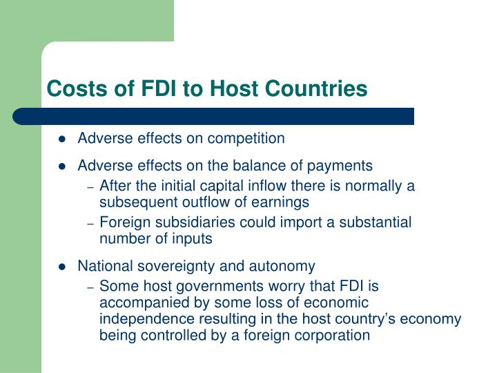 Costs of FDI to Host Countries