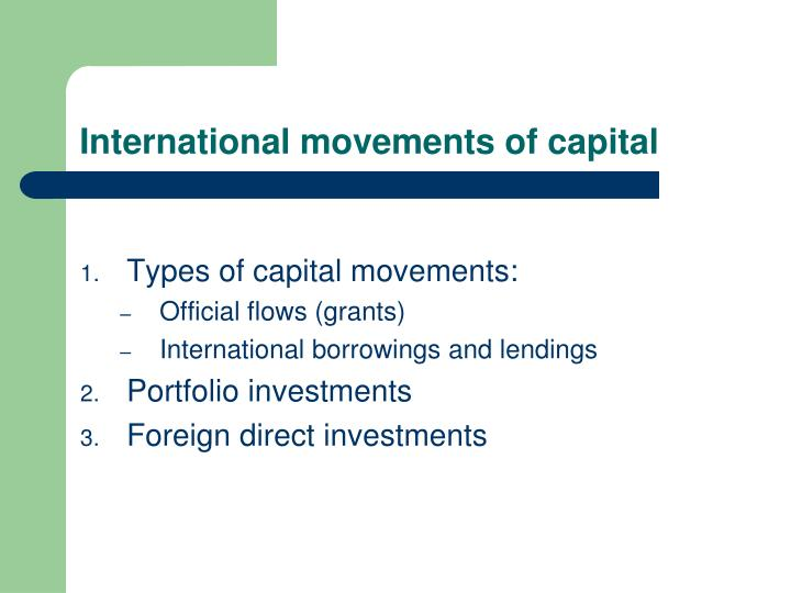 International movements of capital