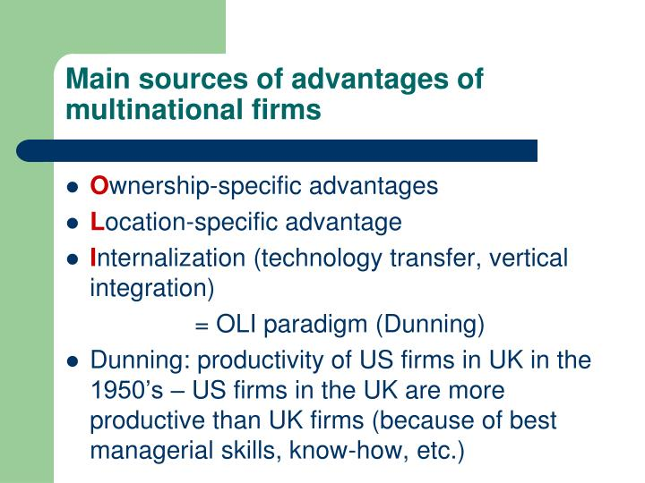 Main sources of advantages of multinational firms