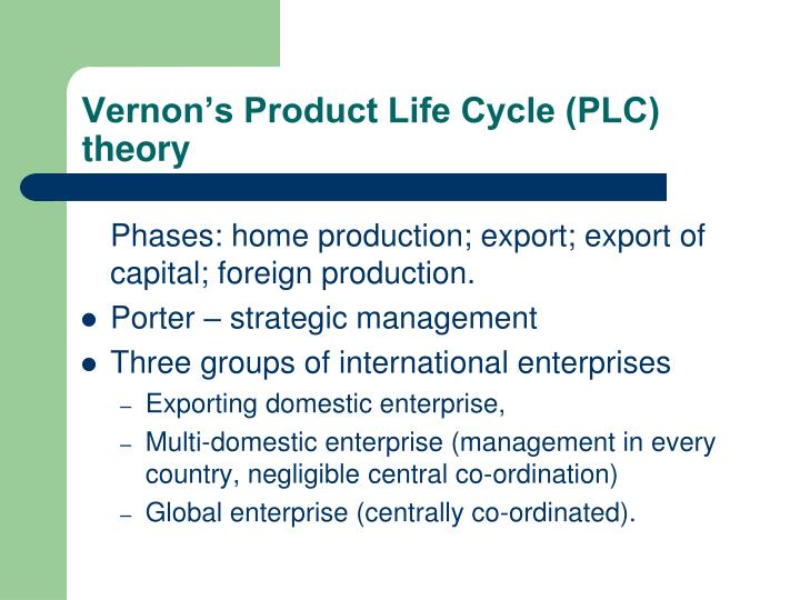 Vernon's Product Life Cycle (PLC) theory