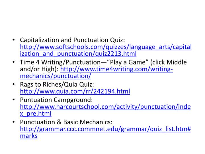 Capitalization and Punctuation Quiz: