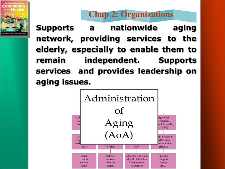 Supports a nationwide aging network, providing services to the elderly, especially to enable them to remain independent. Supports services  and provides leadership on aging issues.