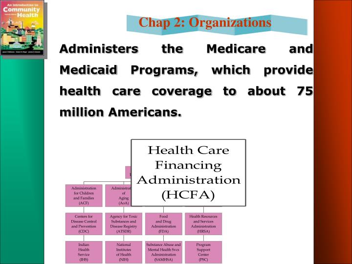 Administers the Medicare and Medicaid Programs, which provide health care coverage to about 75 million Americans.