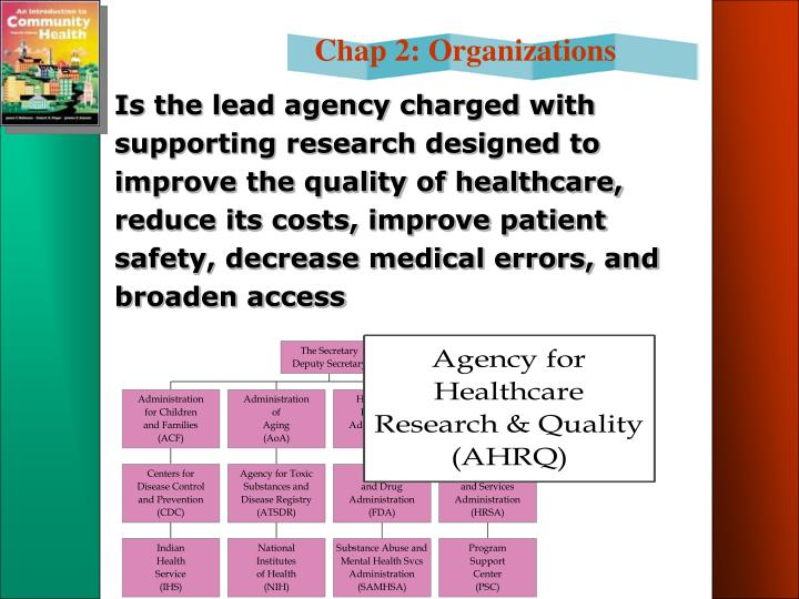 Is the lead agency charged with supporting research designed to improve the quality of healthcare, reduce its costs, improve patient safety, decrease medical errors, and broaden access