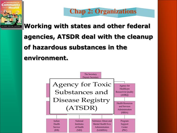 Working with states and other federal agencies, ATSDR deal with the cleanup of hazardous substances in the environment.