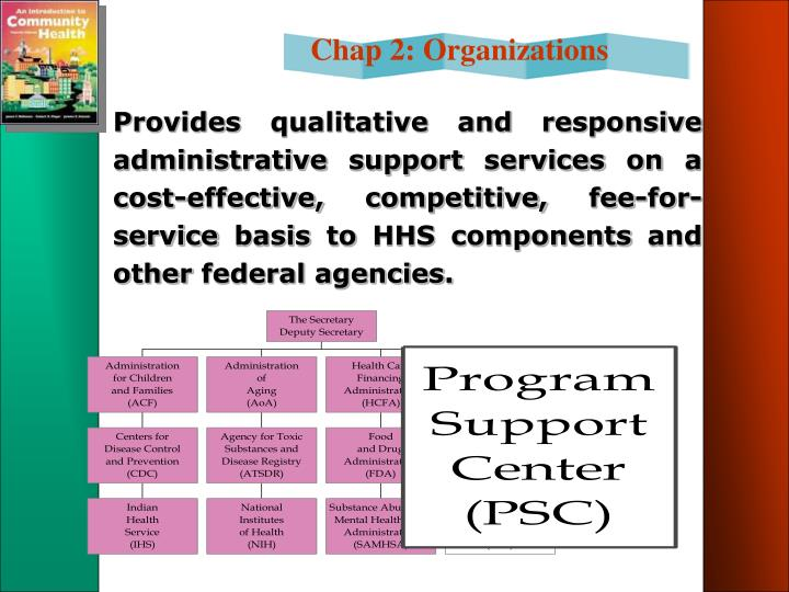 Provides qualitative and responsive administrative support services on a cost-effective, competitive, fee-for-service basis to HHS components and other federal agencies.