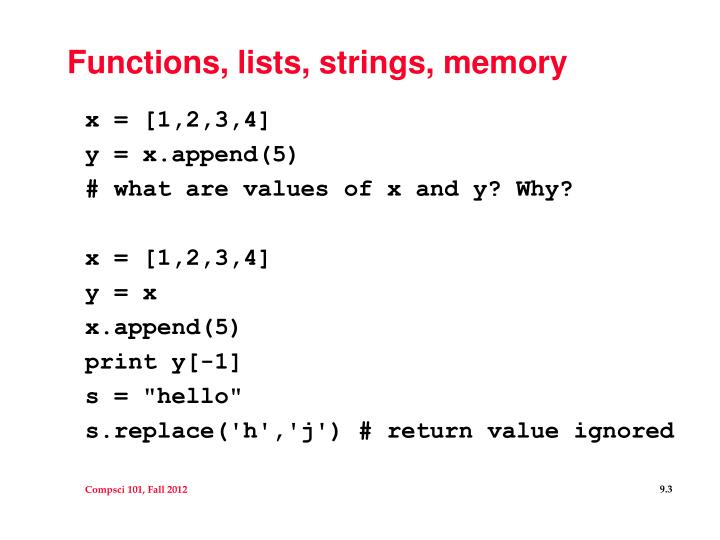 Functions lists strings memory