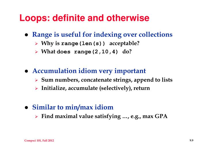 Loops: definite and otherwise