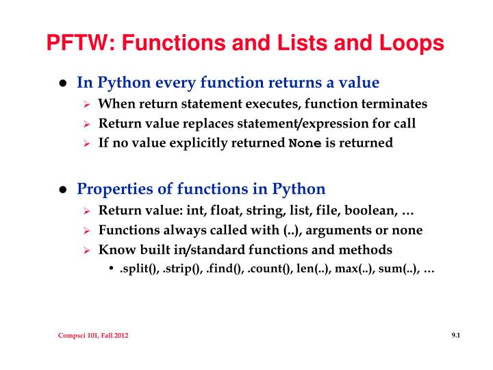 Pftw functions and lists and loops