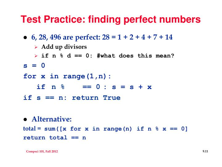 Test Practice: finding perfect numbers