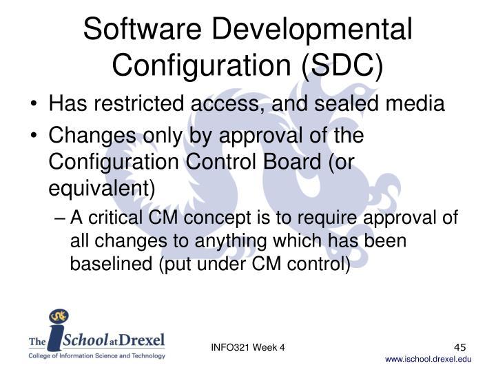 Software Developmental Configuration (SDC)