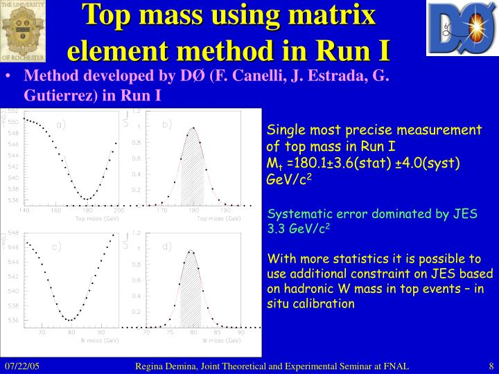 Top mass using matrix element method in Run I