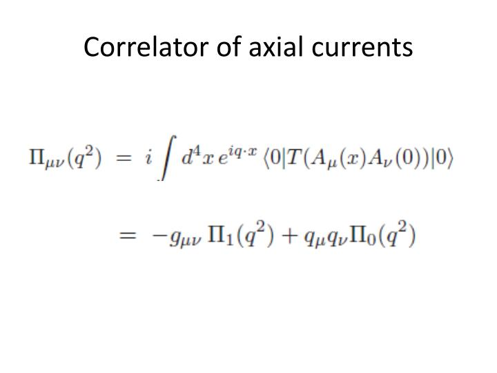Correlator of axial currents