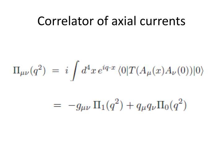 Correlator of axial currents
