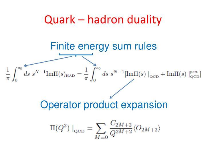 Quark – hadron duality