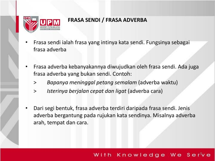 FRASA SENDI / FRASA ADVERBA