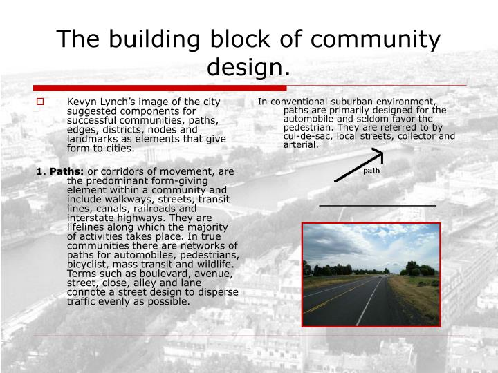Kevyn Lynch's image of the city suggested components for successful communities, paths, edges, districts, nodes and landmarks as elements that give form to cities.