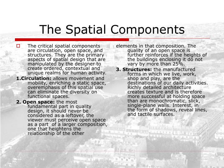 The critical spatial components are circulation, open space, and structures. They are the primary aspects of spatial design that are manipulated by the designer to create ordered, contextual and unique realms for human activity.